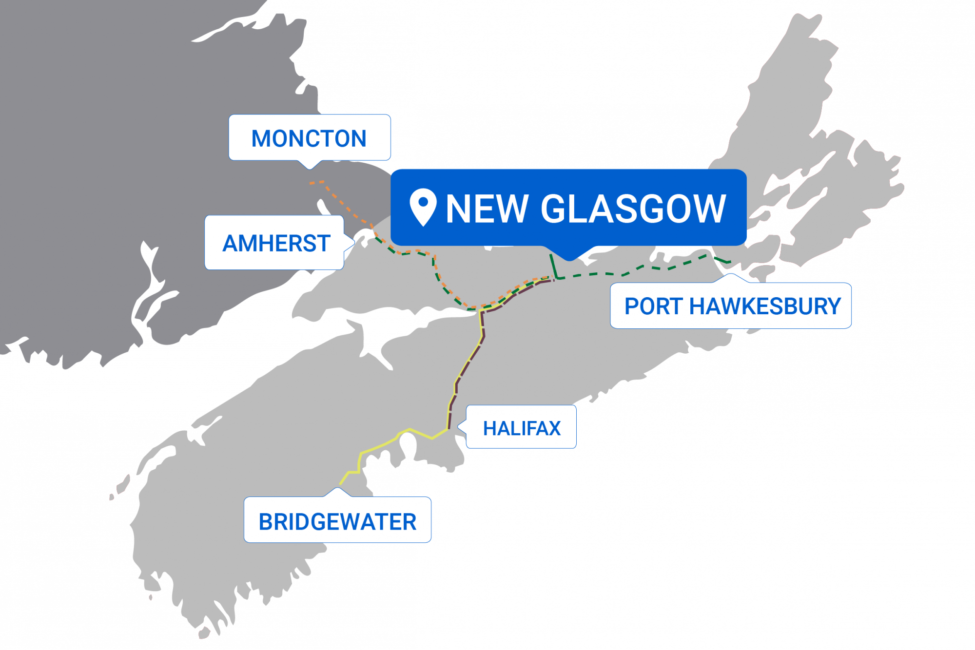 Map of destinations from New Glasgow