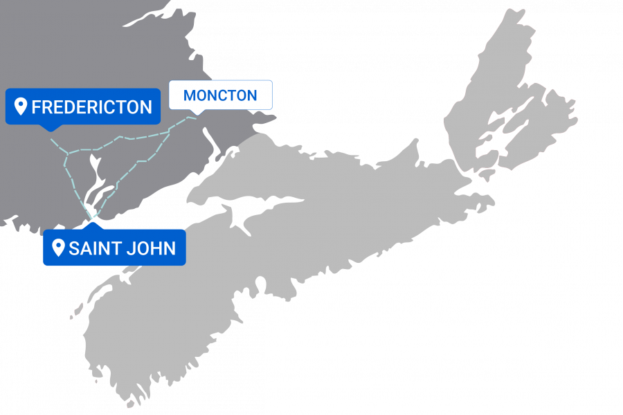 Map of destinations from Fredericton / Saint John