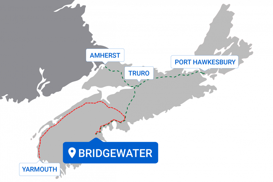Map of destinations from Bridgewater